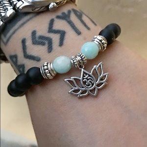 Onyx butterfly design & amazonite + lotus flower